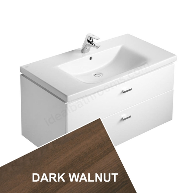Ideal Standard CONCEPT Wall Hung Vanity Unit; 850x450mm; 2 Drawer; Dark Walnut