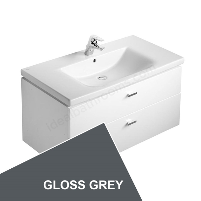 Ideal Standard CONCEPT Wall Hung Vanity Unit; 600x450mm; 2 Drawers; Gloss Grey