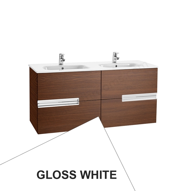 Roca VICTORIA-N Wall Hung Washbasin Unit + Basin; 2 Drawer; 1200mm Wide; Gloss White