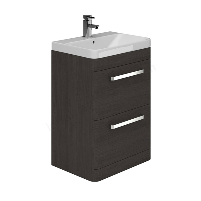 Essential VERMONT Floor Standing Washbasin Unit + Basin, 2 Drawer, 600mm Wide, Dark Grey
