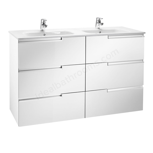 Roca VICTORIA-N Wall Hung Washbasin Unit + Basin; 3 Drawer; 1200mm Wide; Gloss White