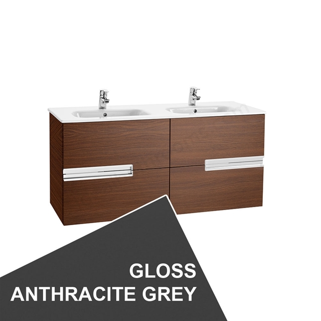 Roca VICTORIA-N Wall Hung Washbasin Unit + Basin; 2 Drawer; 1200mm Wide; Gloss Anthracite Grey
