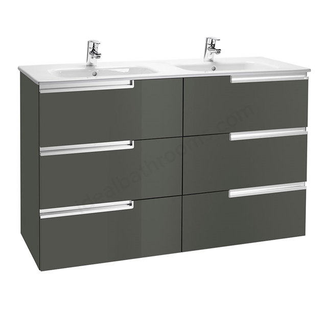 Roca VICTORIA-N Wall Hung Washbasin Unit + Basin; 3 Drawer; 1200mm Wide; Gloss Anthracite Grey