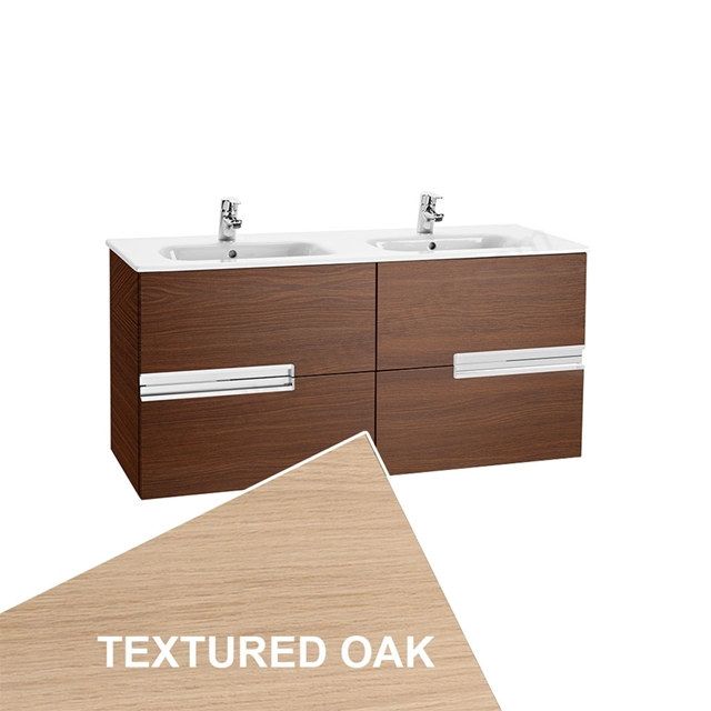 Roca VICTORIA-N Wall Hung Washbasin Unit + Basin; 2 Drawer; 1200mm Wide; Textured Oak