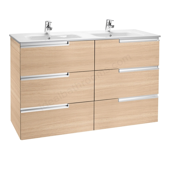 Roca VICTORIA-N Wall Hung Washbasin Unit + Basin; 3 Drawer; 1200mm Wide; Textured Oak