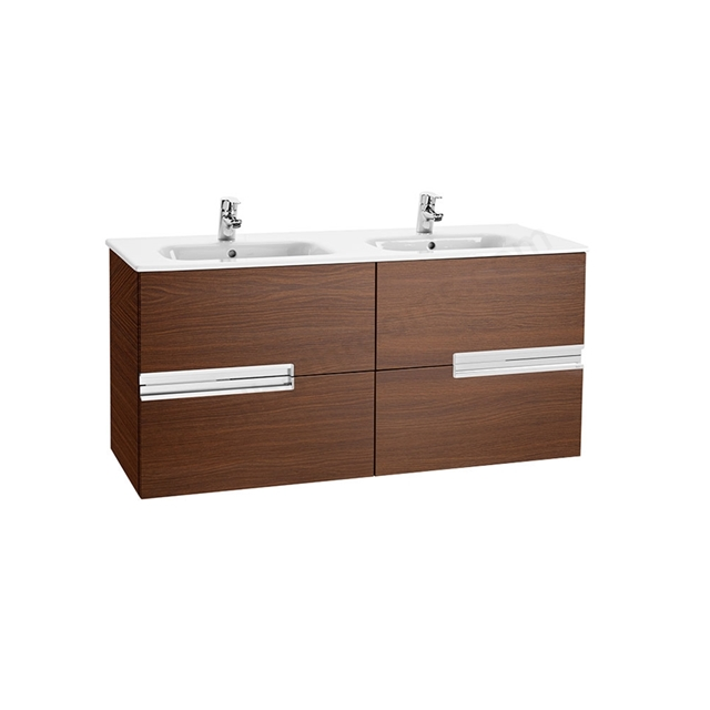 Roca VICTORIA-N Wall Hung Washbasin Unit + Basin; 2 Drawer; 1200mm Wide; Textured Wenge