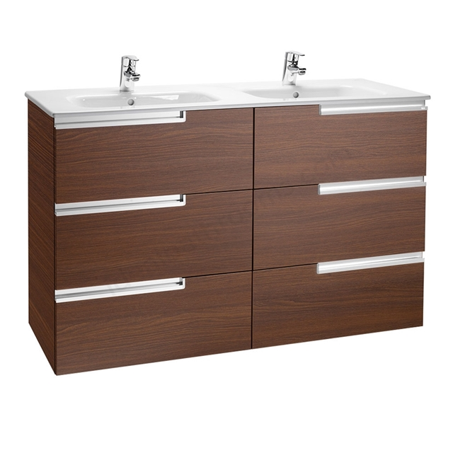 Roca VICTORIA-N Wall Hung Washbasin Unit + Basin; 3 Drawer; 1200mm Wide; Textured Wenge