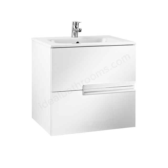 Roca VICTORIA-N Wall Hung Washbasin Unit + Basin; 2 Drawer; 600mm Wide; Gloss White