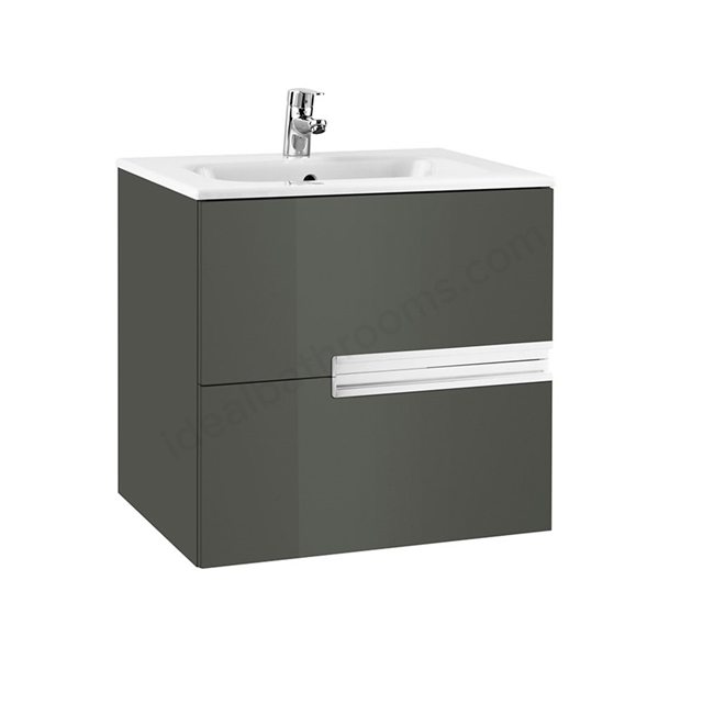 Roca VICTORIA-N Wall Hung Washbasin Unit + Basin; 2 Drawer; 600mm Wide; Gloss Anthracite Grey