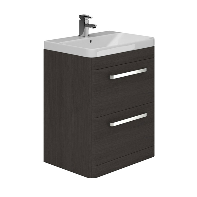 Essential VERMONT Floor Standing Washbasin Unit + Basin, 2 Drawer, 800mm Wide, Dark Grey