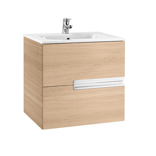 Roca VICTORIA-N Wall Hung Washbasin Unit + Basin; 2 Drawer; 600mm Wide; Textured Oak