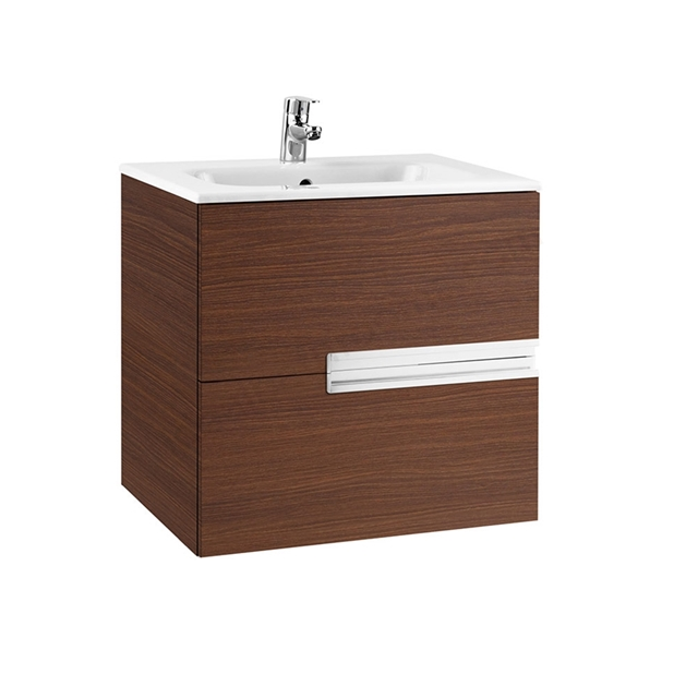 Roca VICTORIA-N Wall Hung Washbasin Unit + Basin; 2 Drawer; 600mm Wide; Textured Wenge
