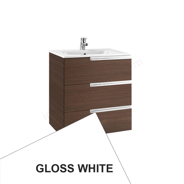 Roca VICTORIA-N Wall Hung Washbasin Unit + Basin; 3 Drawer; 700mm Wide; Gloss White