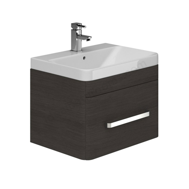 Essential VERMONT Wall Hung Washbasin Unit + Basin, 1 Drawer, 600mm Wide, Dark Grey