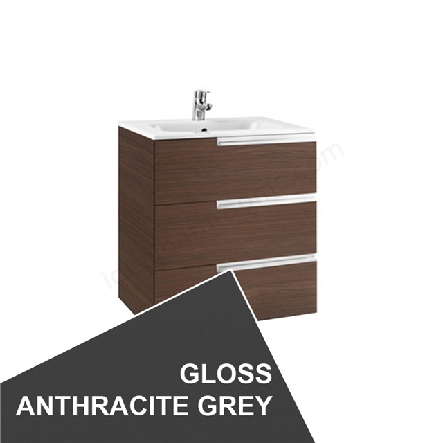Roca VICTORIA-N Wall Hung Washbasin Unit + Basin; 3 Drawer; 700mm Wide; Gloss Anthracite Grey