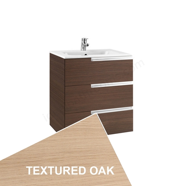Roca VICTORIA-N Wall Hung Washbasin Unit + Basin; 3 Drawer; 700mm Wide; Textured Oak