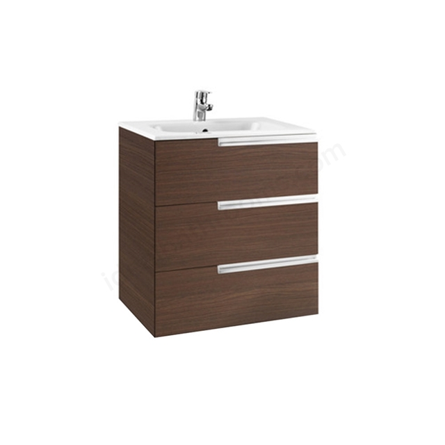 Roca VICTORIA-N Wall Hung Washbasin Unit + Basin; 3 Drawer; 700mm Wide; Textured Wenge