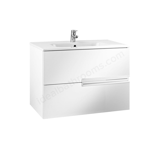 Roca VICTORIA-N Wall Hung Washbasin Unit + Basin; 2 Drawer; 800mm Wide; Gloss White