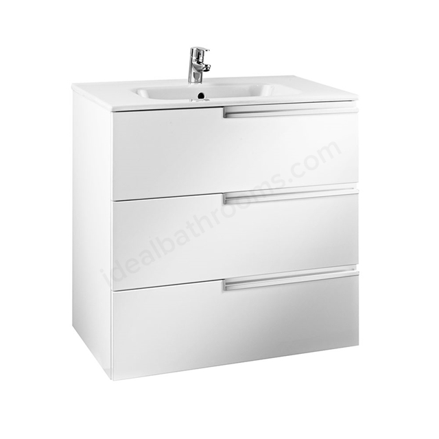 Roca VICTORIA-N Wall Hung Washbasin Unit + Basin; 3 Drawer; 800mm Wide; Gloss White