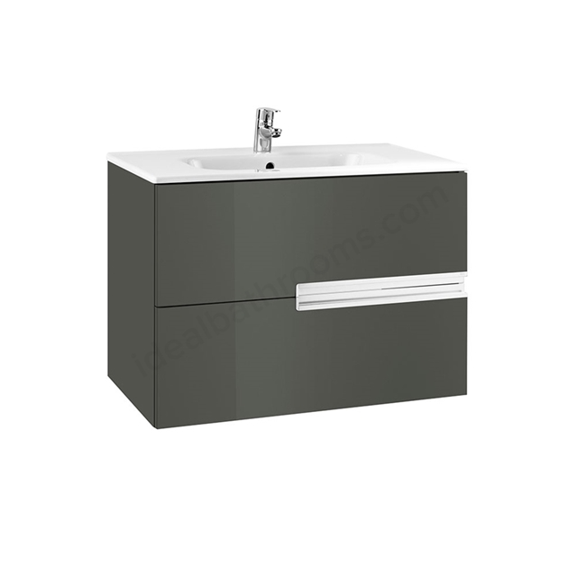 Roca VICTORIA-N Wall Hung Washbasin Unit + Basin; 2 Drawer; 800mm Wide; Gloss Anthracite Grey