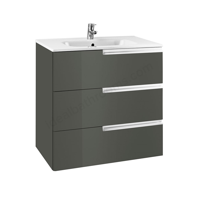 Roca VICTORIA-N Wall Hung Washbasin Unit + Basin; 3 Drawer; 800mm Wide; Gloss Anthracite Grey