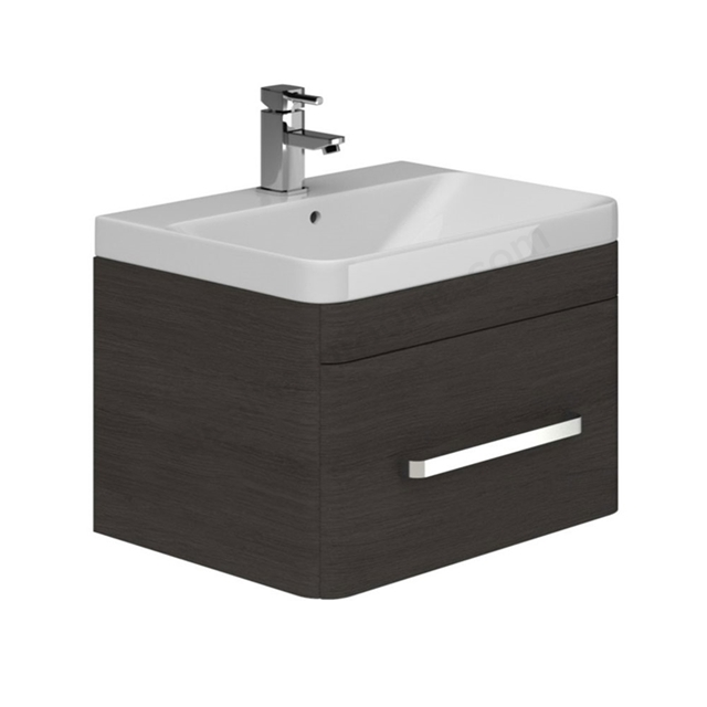 Essential VERMONT Wall Hung Washbasin Unit + Basin, 1 Drawer, 800mm Wide, Dark Grey