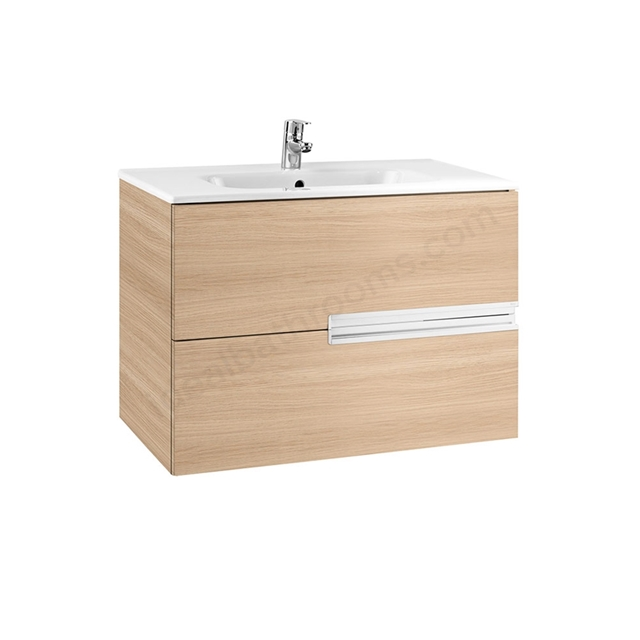 Roca VICTORIA-N Wall Hung Washbasin Unit + Basin; 2 Drawer; 800mm Wide; Textured Oak