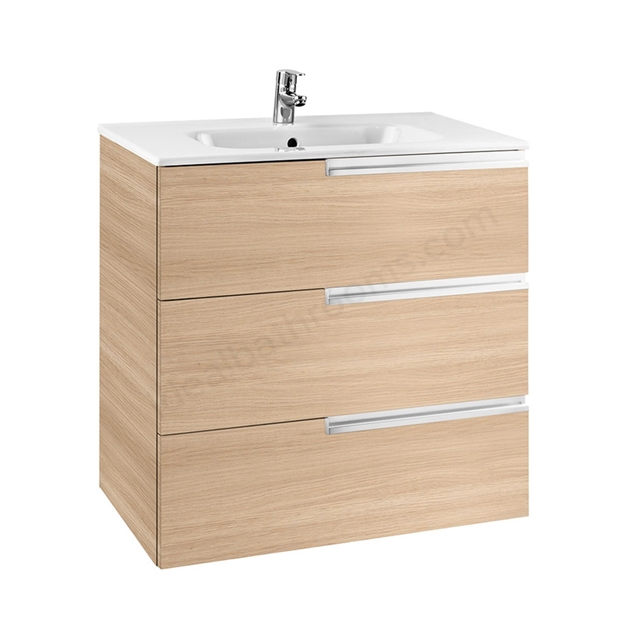 Roca VICTORIA-N Wall Hung Washbasin Unit + Basin; 3 Drawer; 800mm Wide; Textured Oak