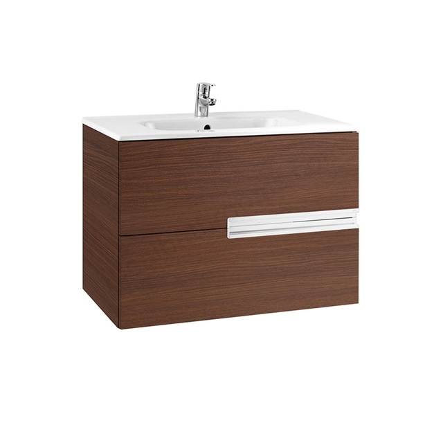 Roca VICTORIA-N Wall Hung Washbasin Unit + Basin; 2 Drawer; 800mm Wide; Textured Wenge