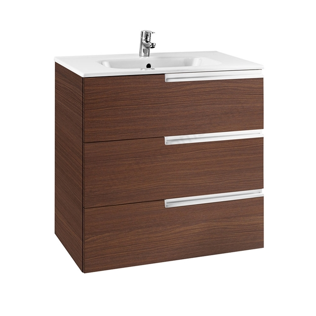 Roca VICTORIA-N Wall Hung Washbasin Unit + Basin; 3 Drawer; 800mm Wide; Textured Wenge