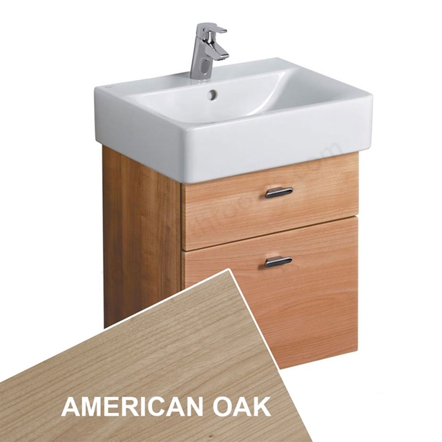 Ideal Standard CONCEPT Wall Hung Basin Unit; 450x420mm; 2 Drawers; American Oak