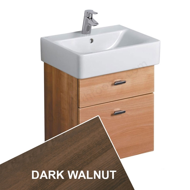 Ideal Standard CONCEPT Wall Hung Basin Unit, 450x420mm, 2 Drawers, Dark Walnut