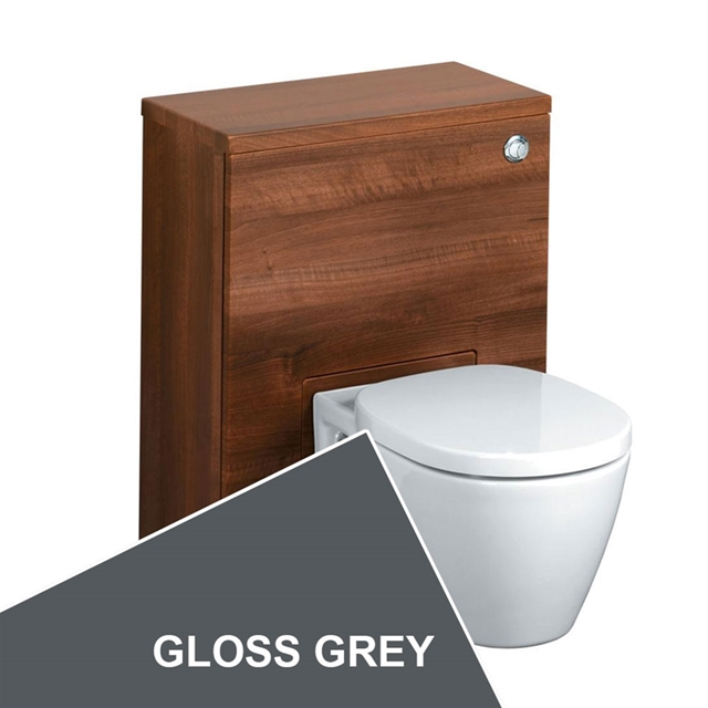 Ideal Standard CONCEPT Wc Unit with Cistern & Push Button; 500x300mm; Gloss Grey