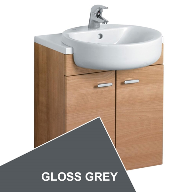 Ideal Standard CONCEPT Wall Hung Semi Countertop Basin Unit; 500x300mm; 2 Doors; Gloss Grey