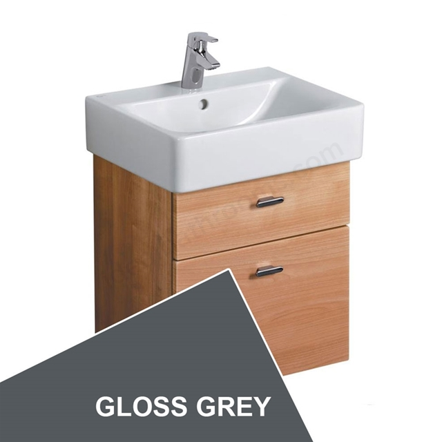 Ideal Standard CONCEPT Wall Hung Cube Basin Unit; 550x420mm; 2 Drawers; Gloss Grey