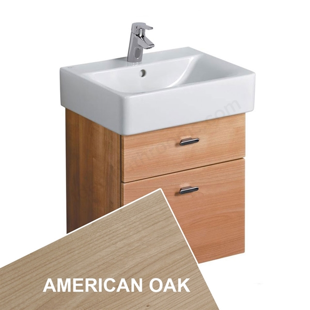Ideal Standard CONCEPT Wall Hung Cube Basin Unit; 550x420mm; 2 Drawers; American Oak