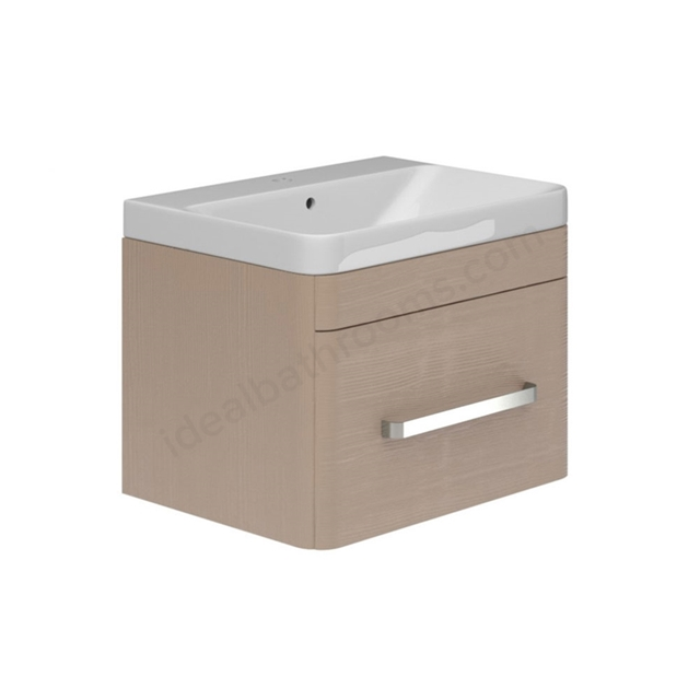 Essential VERMONT Wall Hung Washbasin Unit + Basin; 1 Drawer; 600mm Wide; Light Grey