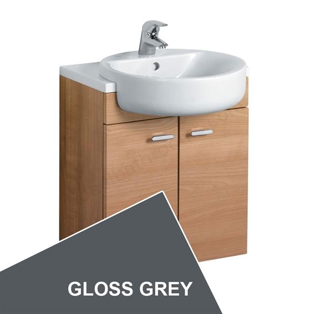 Ideal Standard CONCEPT Wall Hung Semi Countertop Basin Unit; 600x300mm; 2 Doors; Gloss Grey