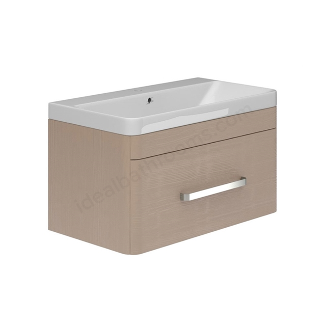 Essential VERMONT Wall Hung Washbasin Unit + Basin; 1 Drawer; 800mm Wide; Light Grey