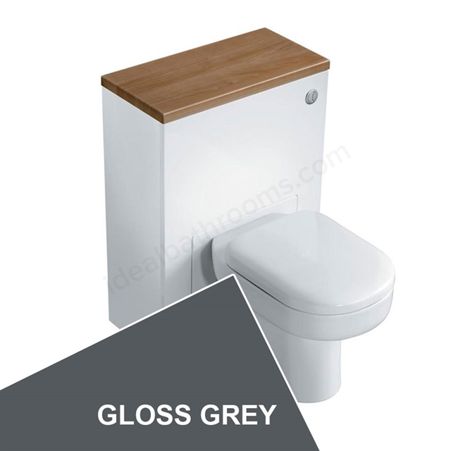 Ideal Standard CONCEPT Wc Unit with Cistern & Push Button, 600x300mm, Gloss Grey