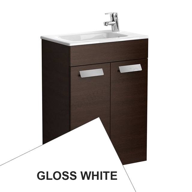 Roca DEBBA Compact Wall Hung Washbasin Unit + Basin; 2 Doors; 1 Tap Hole; 505mm Wide; White