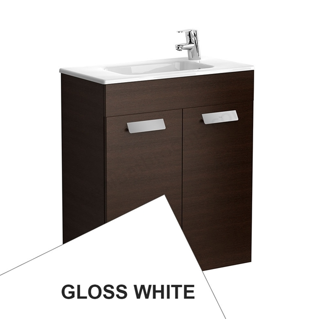 Roca DEBBA Compact Wall Hung Washbasin Unit + Basin; 2 Doors; 1 Tap Hole; 605mm Wide; White