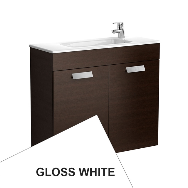 Roca DEBBA Compact Wall Hung Washbasin Unit + Basin; 2 Doors; 1 Tap Hole; 805mm Wide; White