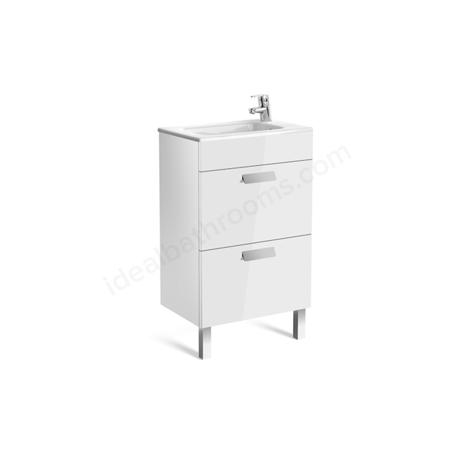 Roca DEBBA Compact Wall Hung Washbasin Unit + Basin; 2 Drawers; 1 Tap Hole; 505mm Wide; White