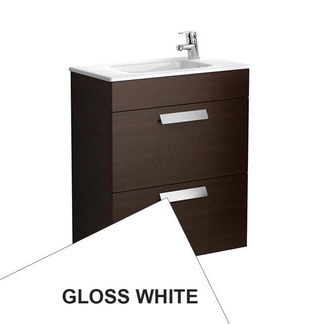 Roca DEBBA Compact Wall Hung Washbasin Unit + Basin; 2 Drawers; 1 Tap Hole; 605mm Wide; White