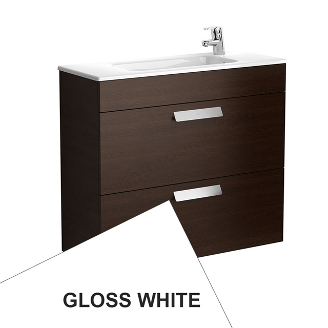 Roca DEBBA Compact Wall Hung Washbasin Unit + Basin; 2 Drawers; 1 Tap Hole; 805mm Wide; White
