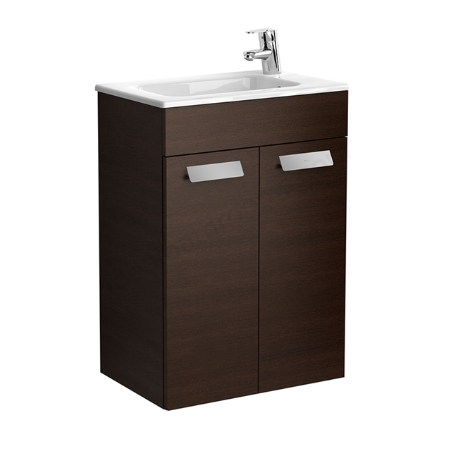 Roca DEBBA Compact Wall Hung Washbasin Unit + Basin; 2 Doors; 1 Tap Hole; 505mm Wide; Wenge