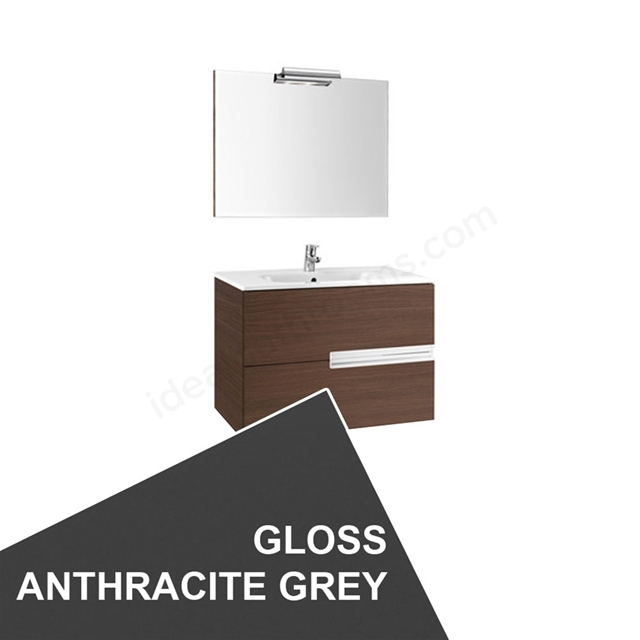 Roca VICTORIA-N Wall Hung Washbasin Unit + Basin + Mirror + Light; 2 Drawer; 1000mm Wide; Gloss Anthracite Grey