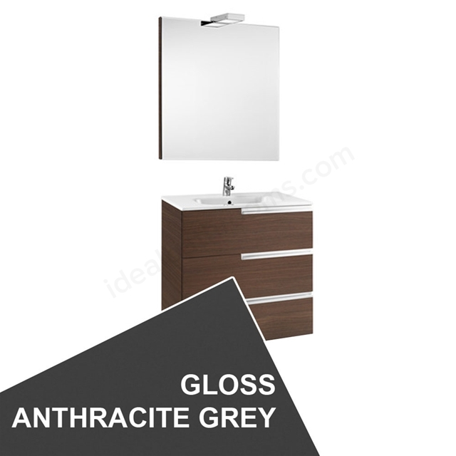 Roca VICTORIA-N Wall Hung Washbasin Unit + Basin + Mirror + Light; 3 Drawer; 1000mm Wide; Gloss Anthracite Grey