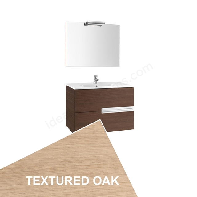 Roca VICTORIA-N Wall Hung Washbasin Unit + Basin + Mirror + Light; 2 Drawer; 1000mm Wide; Textured Oak